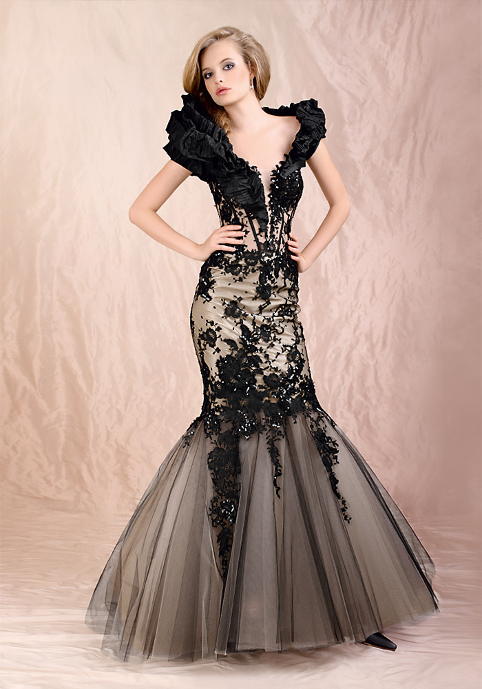 Looking elegant and modest with black wedding dresses with for Black mermaid wedding dresses